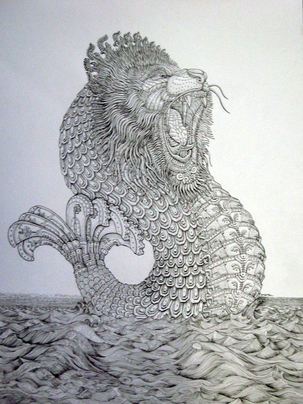 Simple merlion drawing