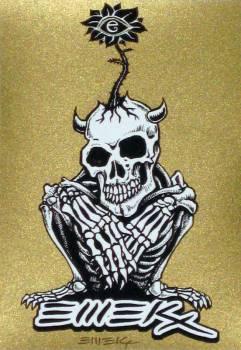 emek skeleton flower out of head - gold