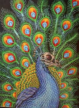 Peacock on Wood